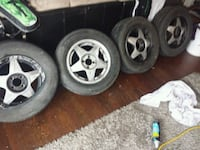 gray 5-spoke car wheel with tire set Nanaimo, V9R 2J6
