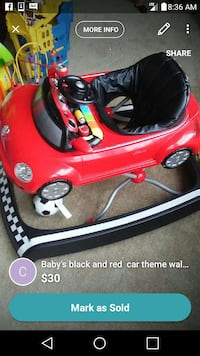 red and black car themed walker