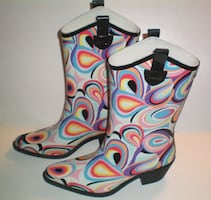 Retro Psychedelic Cowboy Style Rain Boots.