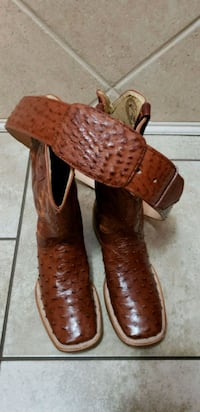 pair of brown leather cowboy boots Grand Prairie