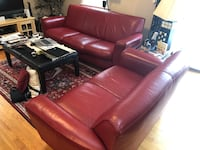red leather 3-seat sofa Worcester, 01602