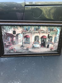 Brown wooden framed painting of house Frederick, 21702