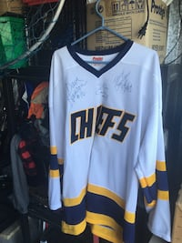 Autograph jersey from the movie slapshot by the Hanson brothers