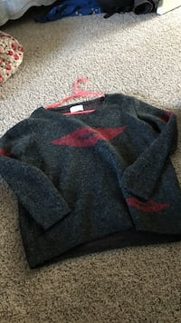 gray and red sweater