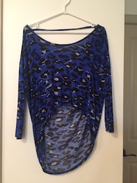 Women's blue, black and gray blouse