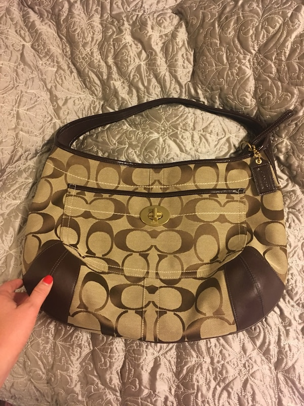 fab44a36b5d9 Used brown and black Coach monogram hobo bag for sale in Hot Springs  National Park - letgo