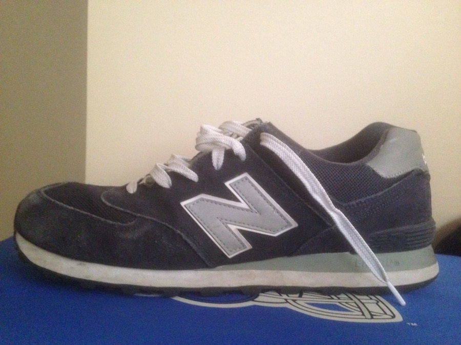 gray and black New Balance low top sneakers