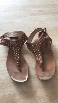 25c858cdbd4 Faux leather brown sandals with embellishments