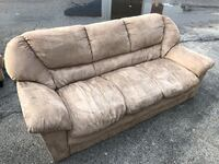 BEIGE SWEDE 3 SEATER COUCH - GOOD COND - DELIVERY AVAILABLE Toronto, M1C