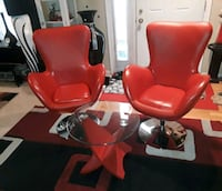 2 red leather chairs with table  Columbia, 21045