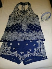 Blue Bandana Shorts