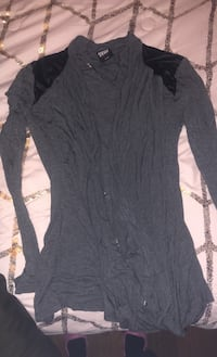 Long sleeve throw on with leather shoulders size M
