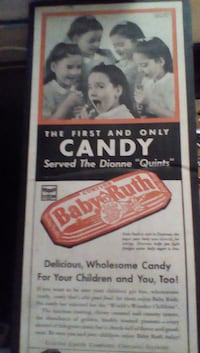 Vintage Baby ruth advertisement cardboard sign null