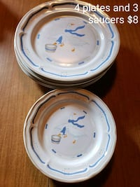 4 plates with 3 matching saucers Rogersville, 37857