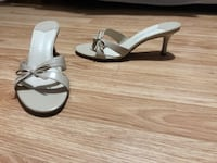 Pair of beige  leather open-toe heeled sandals Mississauga, L5R 3R7