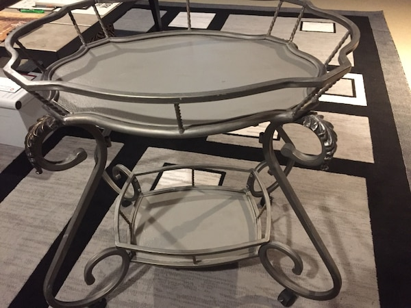 Decorative metal frame, tea table or side table or tray table on wheels