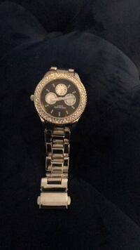 round silver chronograph watch with silver link bracelet Laurel, 20708