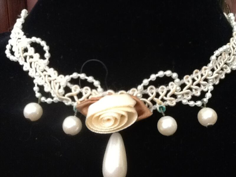 Choker Jewelry Beaded Macrame Ivory 3
