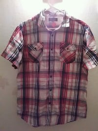 red and blue plaid button-up shirt Fresno, 93706