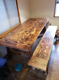 Farm style table and bench