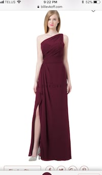 Bill Levkoff bridesmaid dress In the colour Wine - style 1203 one shoulder  size 8 Kleinfeld maroon Toronto, M9C 1B8