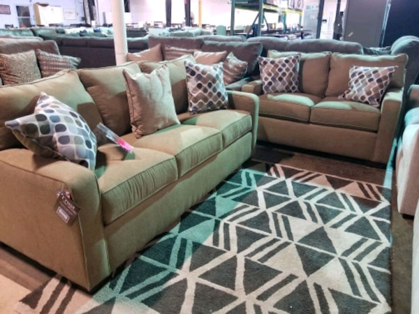 Couch and love seat set with accent pillows  f28837df-3396-4c23-81d9-5323873b3084