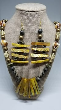 brown and yellow beaded jewelry set