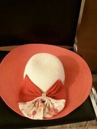 red and white floral elegant hat for lady Vaughan, L4L 6H5