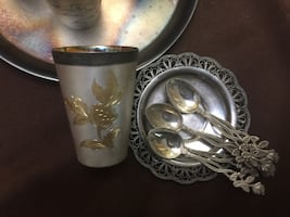 Coffee or tea drinking set with tray and spoons