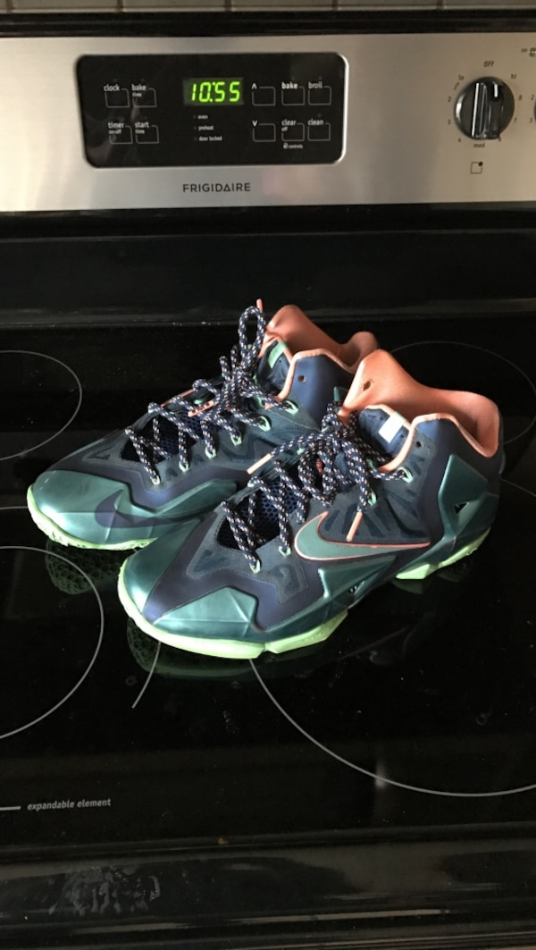 1ada02e97f914 Used blue green and orange nike lebron james basketball shoes for sale in  Wesley Chapel - letgo