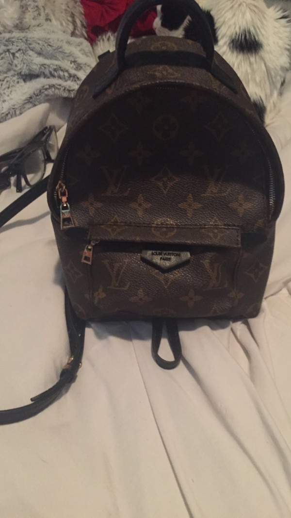 Black leather louis vuitton backpack