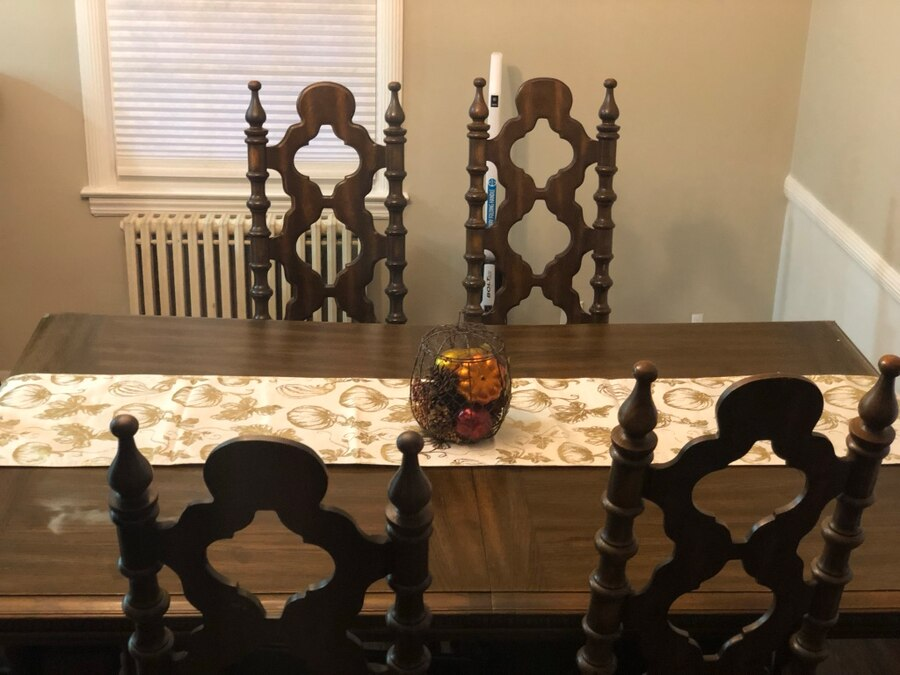 Dining Room Table And Chairs. Beautiful Solid Wood Set With Ornate Details.  In Great Condition With 6 Chairs And Two Leaves To Extend Table. We ...