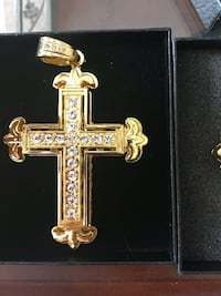 Gold plated cross pendant and chain
