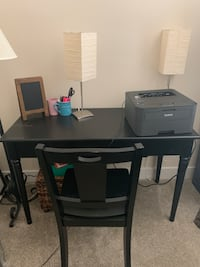 Desk, chair and two lamps must go. Lightly used. Desk can double as a console table. Arlington, 22206
