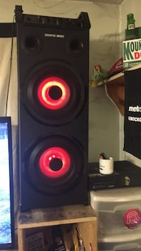 Black and red tower subwoofer speaker come with 15ft aux Whitman, 02382