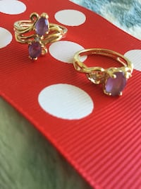 Classy Amethyst gemstone Rings * Size #5 / Gold over silver - Vermeil Gold fine Fashion rings Alexandria, 22311