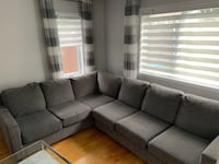 """Sectional grey fabric. Left side.   115""""by 88"""" Depth 37""""height 24"""" Laval, H7T 1V7"""