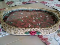 Center piece for table glass a wicker
