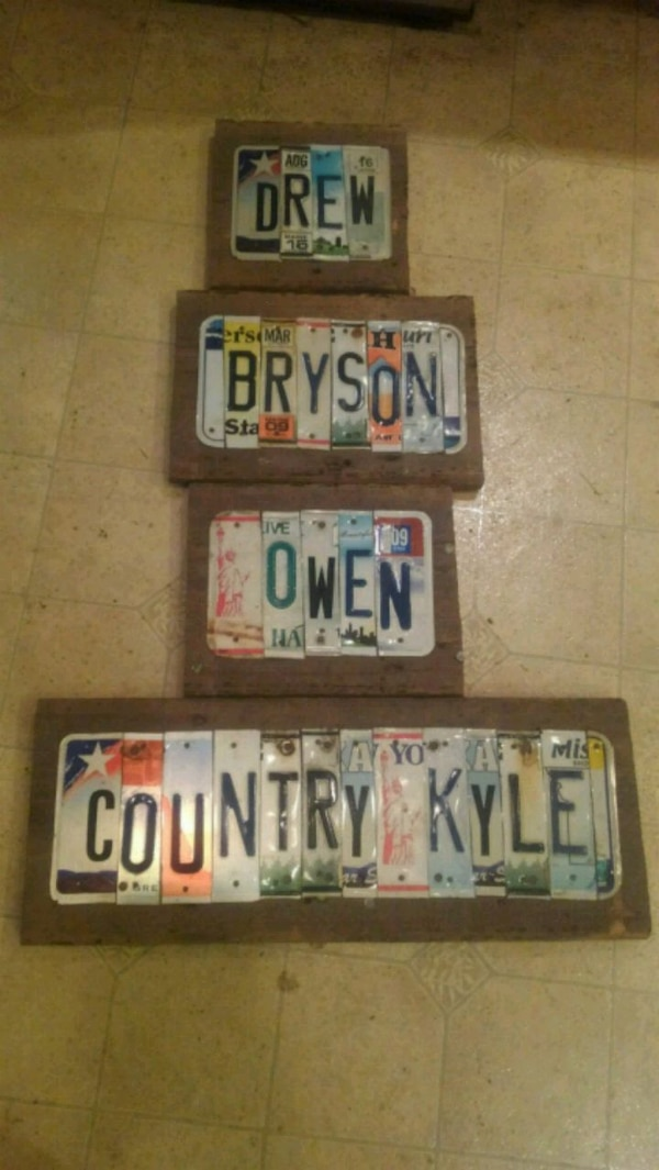 Custom made license plate signs