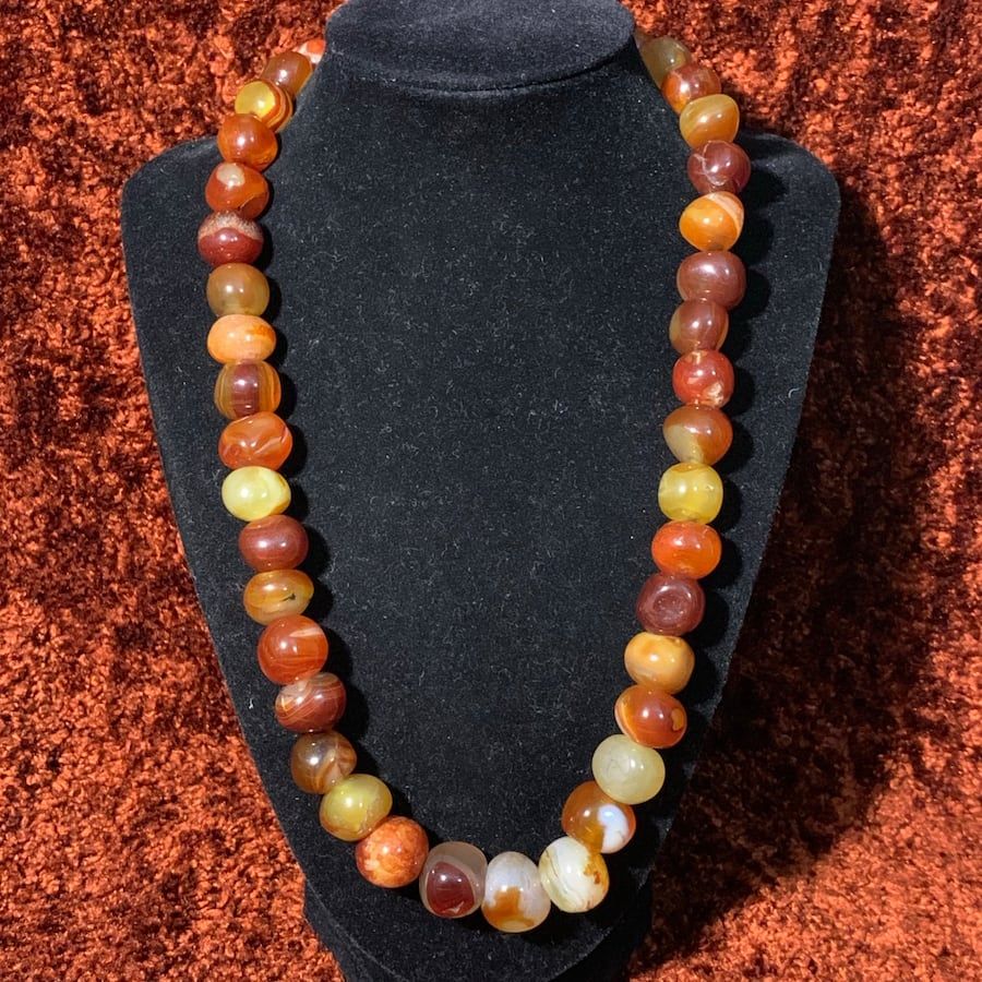 Genuine Hematoid Quartz Crystal Bead Necklace with Sterling Clasp 58f6ffae-e0f0-4137-8228-9e5038a0e39a
