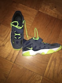 Green-white-and-black nike basketball shoes