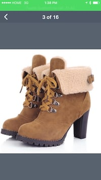 brown-and-black suede lace-up fleece chunky-heeled ankle booties screenshot