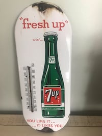 Antique English 7-Up porcelain thermometer sign. 7up Vintage seven up soda coke Ottawa, K0A 3H0