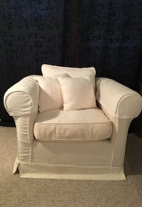 White Upholstered Rolled Armchair Sterling