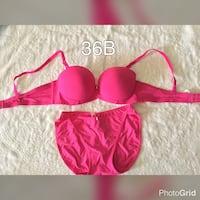 women's pink bra and underwear  36b