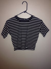 women's white and blue stripes crop top Yucca Valley, 92284