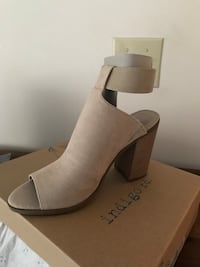 Beige Indigo suede open toe stack heeled sandals.  Brand new.  Size 9