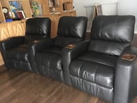 3 super luxurious full leather recliners (individual but attachable) Mont-Royal, H3P