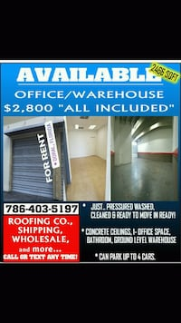 """$2,800 """"ALL INCLUDED"""" Warehouse/Office Space  Doral"""