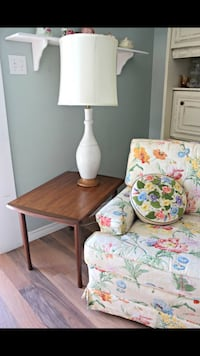 brown wooden side table; white table lamp Lethbridge, T1K 6G1